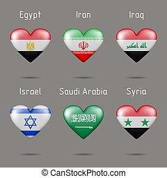 alakú, szív, zászlók, nyugat, ázsia, országok