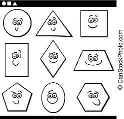alakzat, geometriai, színezés, alapvető