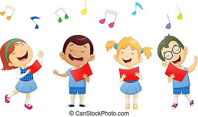 alakzat, közül, iskolások, éneklés, alatt, énekkar