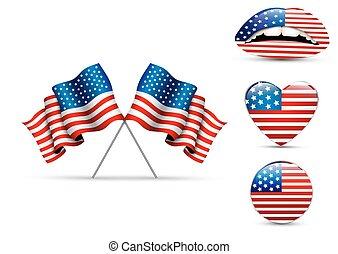 alakzat, különböző, állhatatos, zászlók, amerikai
