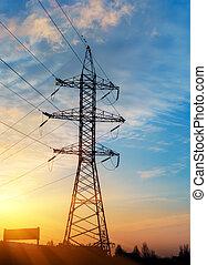 alambre, eléctrico, energía, en, sunset.