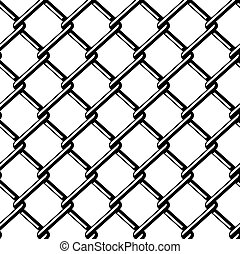 alambre, silueta, cerca, seamless, vector, negro
