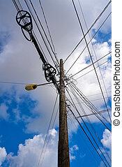 alambres, aéreo, eléctrico, méxico, poste, desordenado