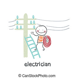 alambres, electricista, escalera, poste, costes, cheque