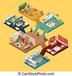 alameda, concepto, compras, isométrico