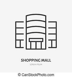 alameda, línea, tienda, edificio., señal, ilustración, alquiler, logotipo, icono, compras, supermercado, verdadero, pictogram, vector, centro, propiedad