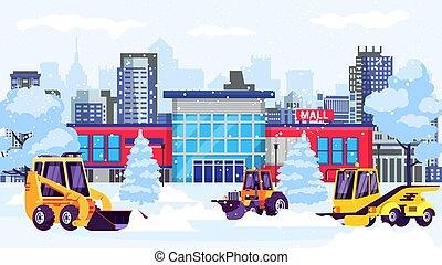 alameda, snowblowers, nieve, illustration., calle, máquinas, compras, edificio, limpio, vector