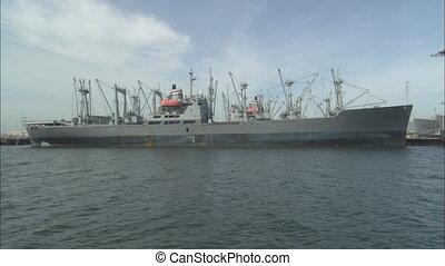 AlamedaNaval_Girardeau.mov - LS of SS Cape Girardeau dock in...