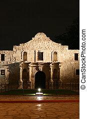 Alamo at Night - the Alamo lit up at night in San Antonio...