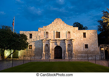 Alamo at twilight - Famous american landmark - Alamo mission...
