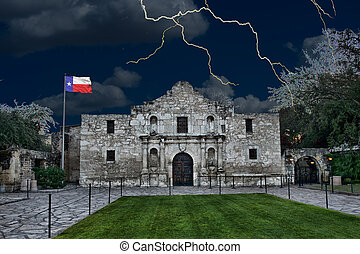 Alamo in San Antonio, Texas - A stormy night at the Alamo ,...