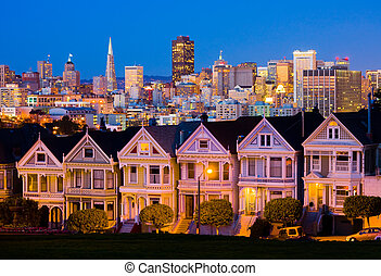 San Francisco at night - Alamo Square in San Francisco at...
