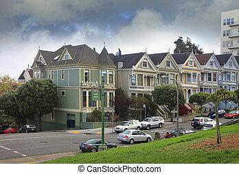 Alamo Square - San Francisco, California, USA - October 23,...
