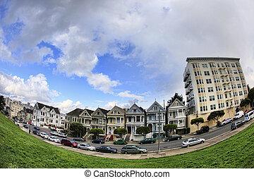 Alamo Square - View to San Francisco with Alamo Square