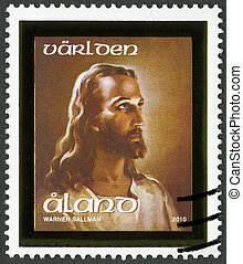 ALAND - 2010: shows Head of Christ - ALAND - CIRCA 2010: A...