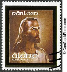 ALAND - 2010: shows Head of Christ - ALAND - CIRCA 2010: A...