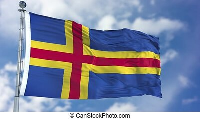Aland Flag in a Blue Sky