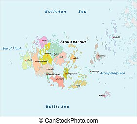 Aeolian islands vector map Map of the italian island group