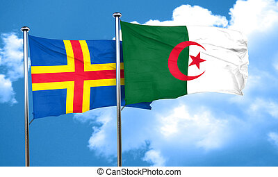 aland islands with Algeria flag, 3D rendering