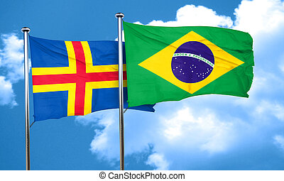 aland islands with Brazil flag, 3D rendering
