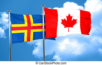 aland islands with Canada flag, 3D rendering
