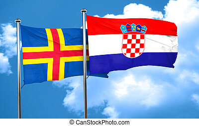 aland islands with Croatia flag, 3D rendering