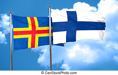 aland islands with Finland flag, 3D rendering