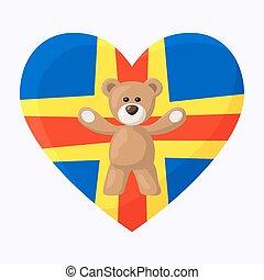 Aland Teddy Bears - Teddy Bears with heart with flag of ...