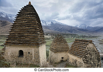 Alanian necropolis in Dargavs. Caucasus, Russia