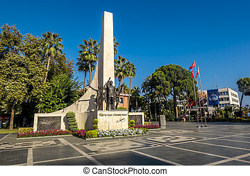 Alania.Turkey.September 2, 2020.Ataturk monument on the square in Alanya in Turkey