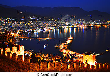 Alanya harbor seen from peninsula