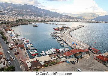 Alanya Port in Antalya, Turkey - Boats in Alanya Port,...