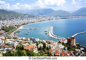 Alanya, Turkey - Panorama of famous holiday resort in...