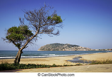 alanya, vista, playa, península