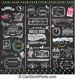 alapismeretek, dekoráció, calligraphic, vektor, tervezés, szüret, keret, karácsony, set:, oldal