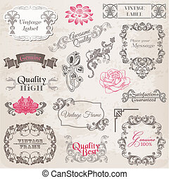 alapismeretek, dekoráció, keret, gyűjtés, calligraphic, vektor, tervezés, szüret, menstruáció, oldal, set: