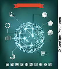 alapismeretek, elvont, gömb, izzó, infographic, points., geometriai, zenemű