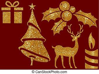 alapismeretek, fénylik, karácsony, háttér, piros