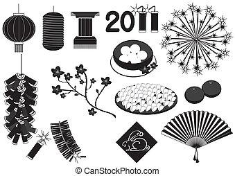 alapismeretek, fekete, körvonal, új, celebrations., vektor, ...