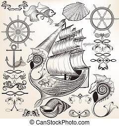 alapismeretek, gyűjtés, calligraphic, téma, vektor, tenger