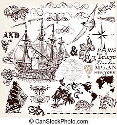 alapismeretek, gyűjtés, kéz, téma, vektor, tervezés, húzott, tengeri