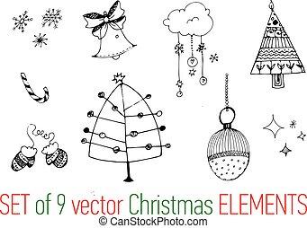 alapismeretek, gyűjtés, kéz, vektor, húzott, karácsony