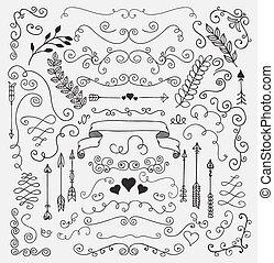 alapismeretek, kéz, falusias, vektor, tervezés, sketched, virágos