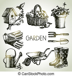 alapismeretek, set., kertészkedés, skicc, tervezés, kéz, ...