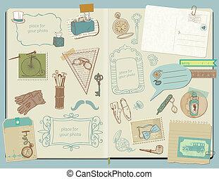 alapismeretek, szórakozottan firkálgat, -, segédszervek, gyűjtés, kéz, vektor, tervezés, scrapbook, húzott, gentlemen's