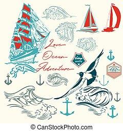 alapismeretek, szünidő, theme.eps, óceán, vektor, gyűjtés, tenger, tengeri