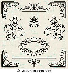 alapismeretek, szüret, calligraphic, dekoráció, frames., tervezés, oldal