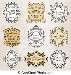 alapismeretek, szüret, -, calligraphic, dekoráció, keret, vektor, tervezés, oldal, set: