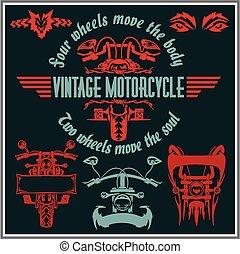 alapismeretek, szüret, set., -, elnevezés, vektor, tervezés, motorkerékpár, jelvény