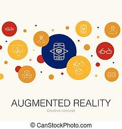 alapismeretek, tényleges, augmented, játék, icons.,...